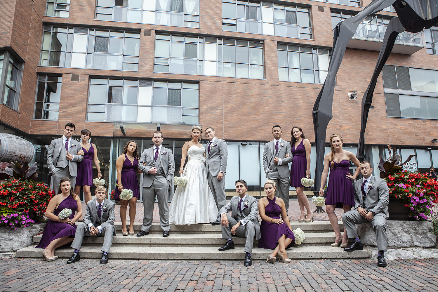 The Bridal Party poses in Toronto's Distillery District