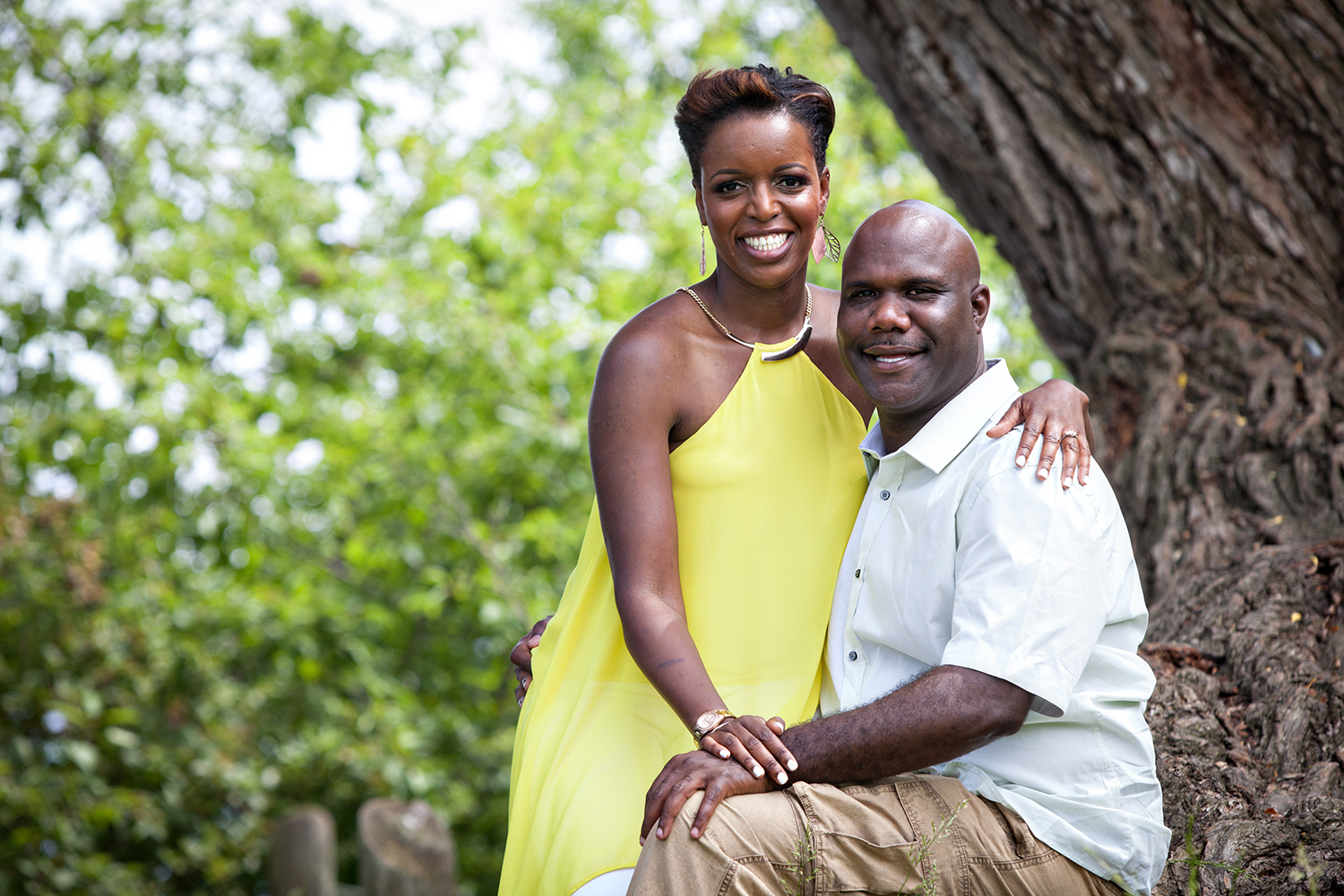 Ajax Photographer shot a Couple smiling at Rotary Park in Ajax during their Engagement Shoot