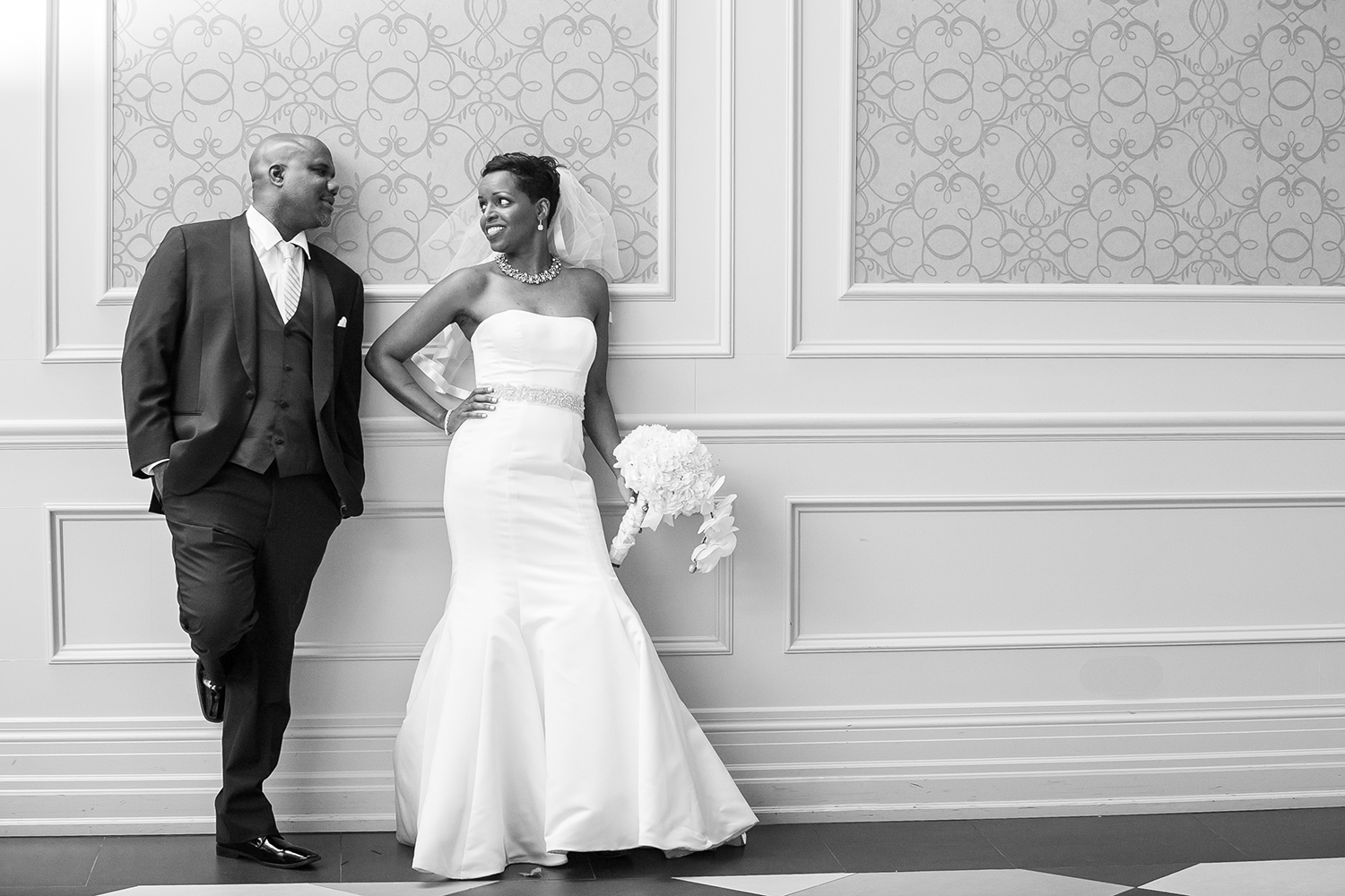 Married couple posing at their wedding reception at the Venetian in Vaughan