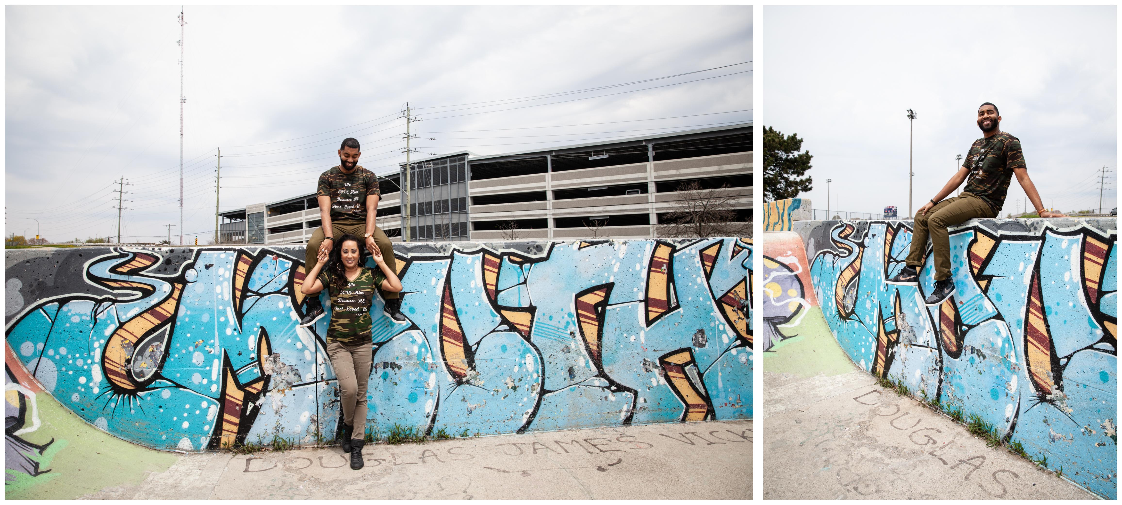 Skatepark Engagement photo session in Whitby