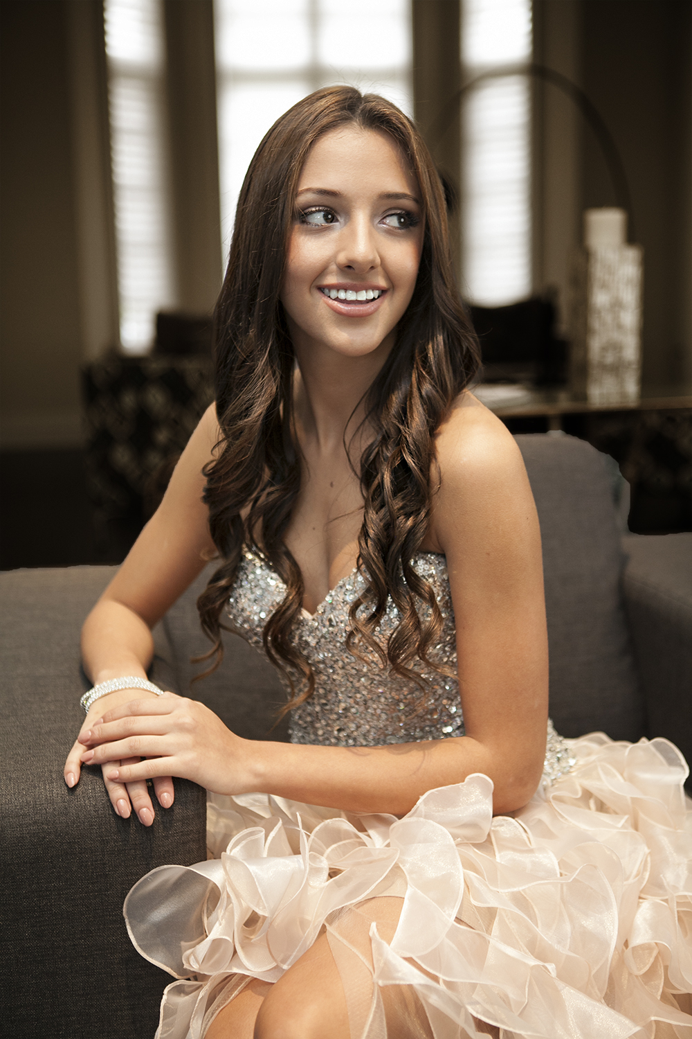 young lady smiles at her quinceanera in Whitby