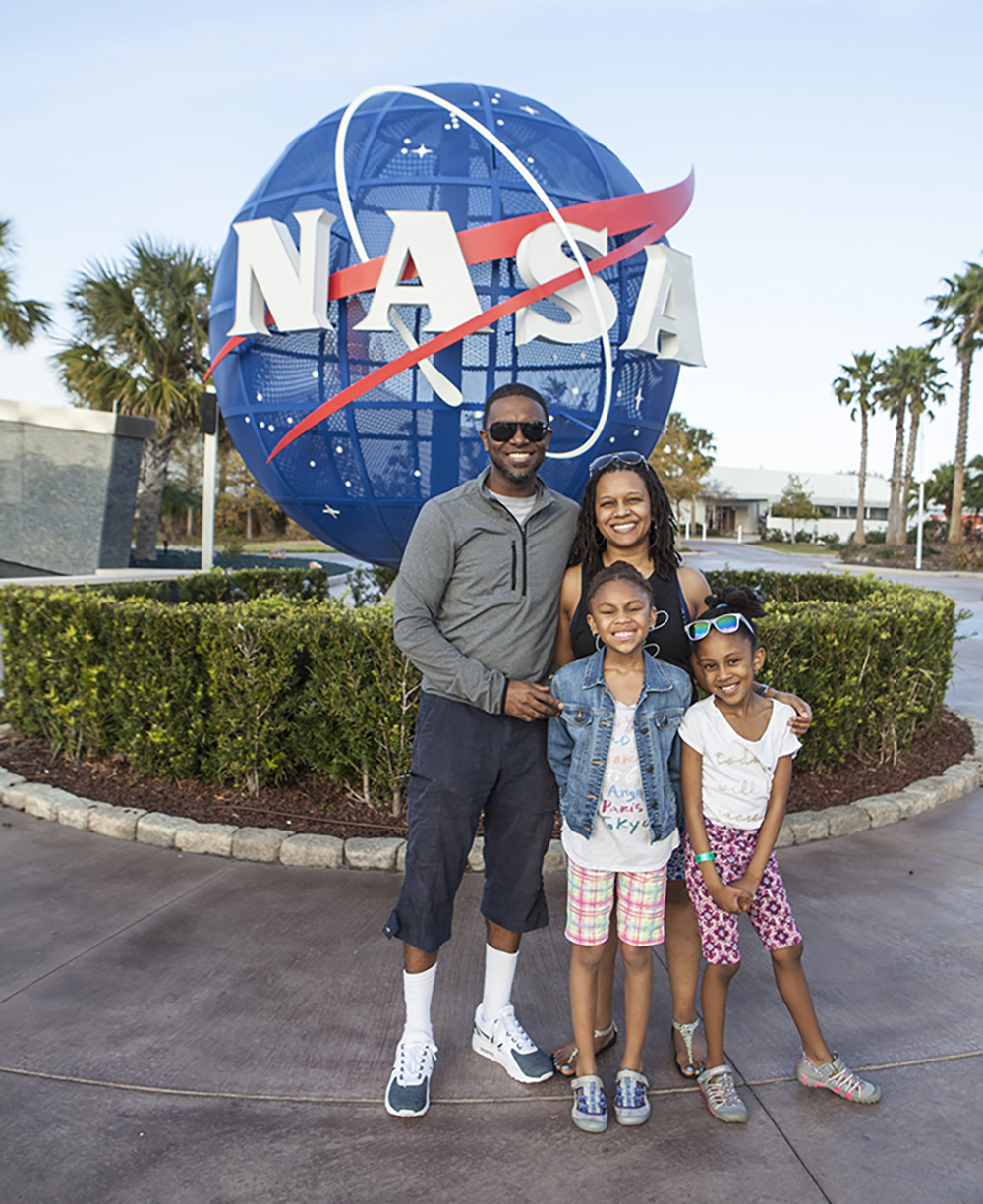 Photographer Sheldon Isaac with his family at NASA
