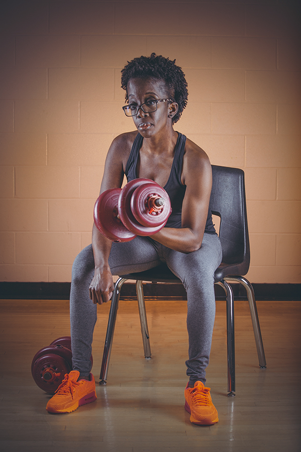 Woman working out for a fitness photoshoot at the Audley Recreation Centre in Ajax