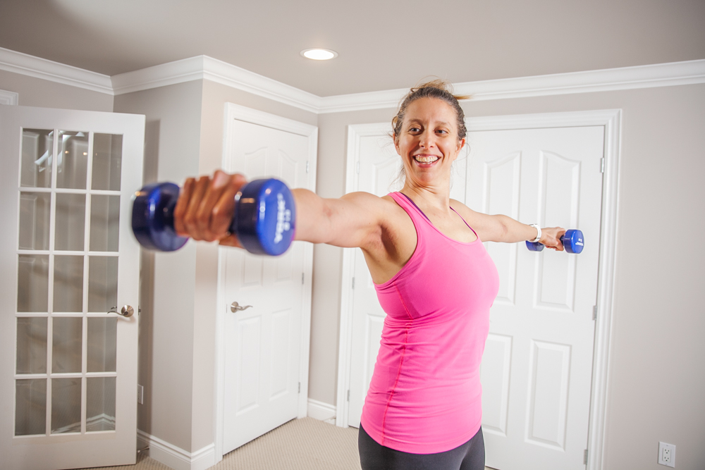 Fitness instructor working out during a branding photoshoot