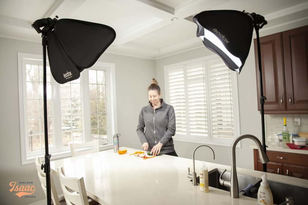 Branding photoshoot cutting fresh food in Brooklin