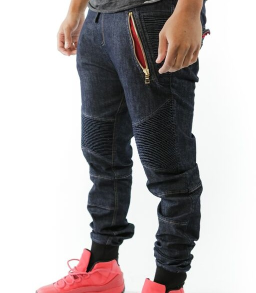 PREMIUM DENIM JOGGERS/TAPERED JEANS – INDIGO/RED