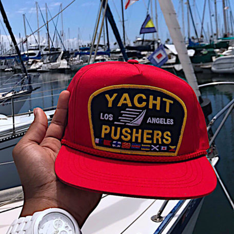 """The red """"Yacht Pusher"""" snapback by Feelgood Threads"""