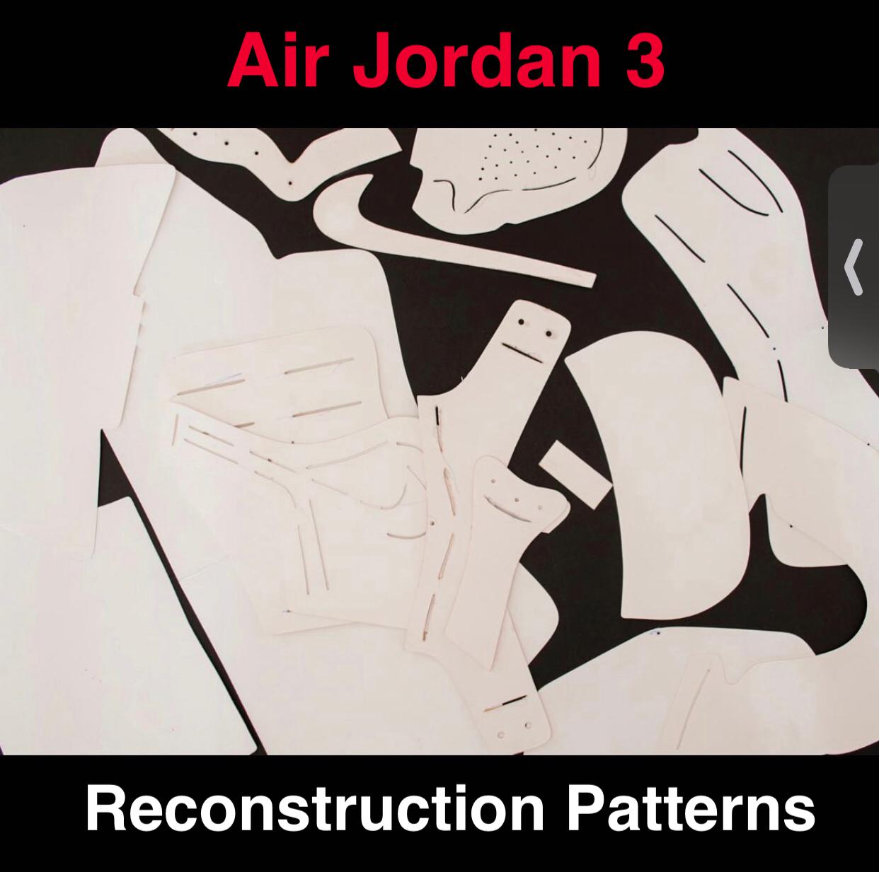 Jordan 3 Paper Patterns to Reconstruct Shoes