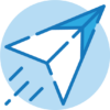 Submit art icon; paper airplane