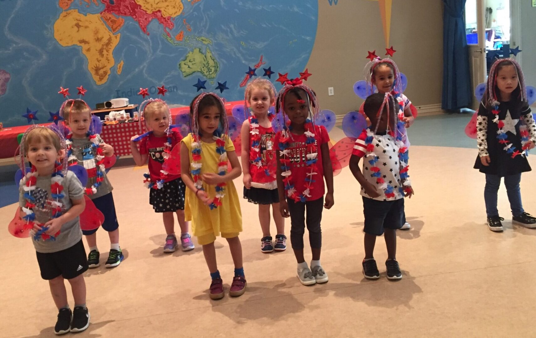Children wearing party accessories