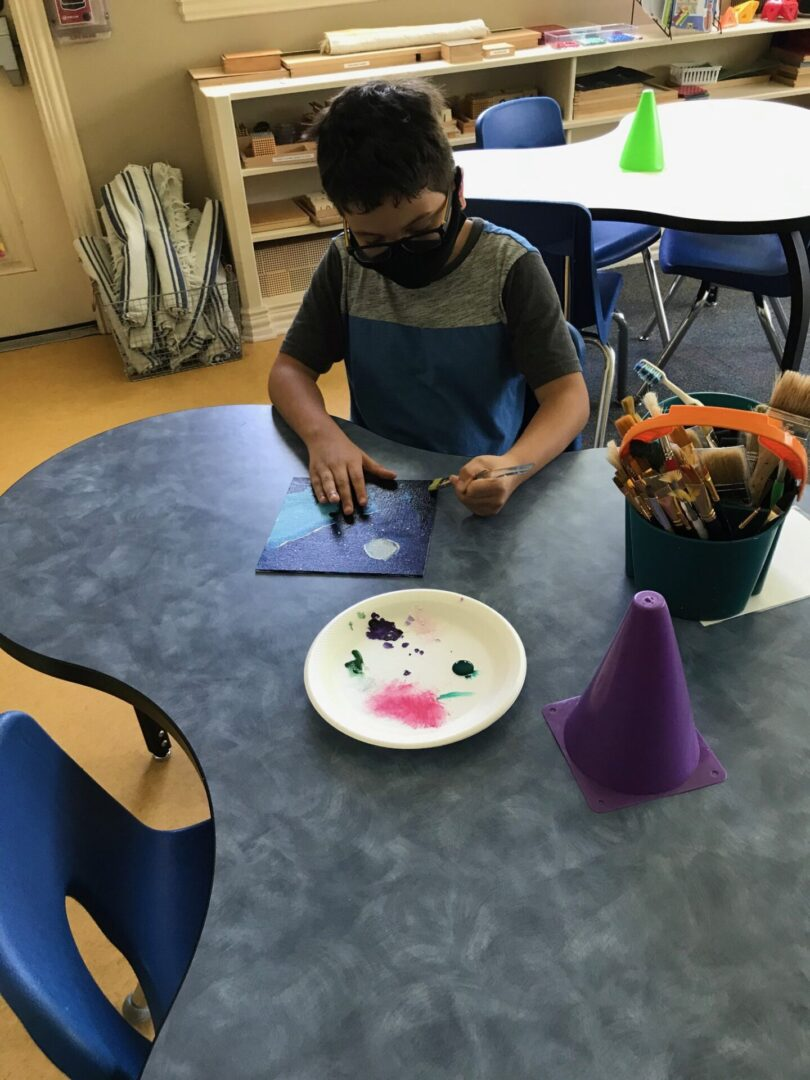 A child painting