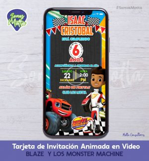 Tarjeta de Invitación Digital Animada BLAZE Y LOS MONSTER MACHINE