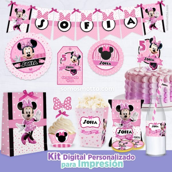KIT IMPRIMIBLE DE FIESTA MINNIE ROSADA