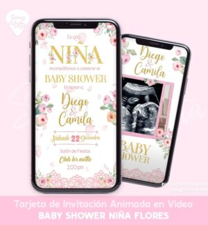 INVITACIÓN BABY SHOWER FLORAL NIÑA