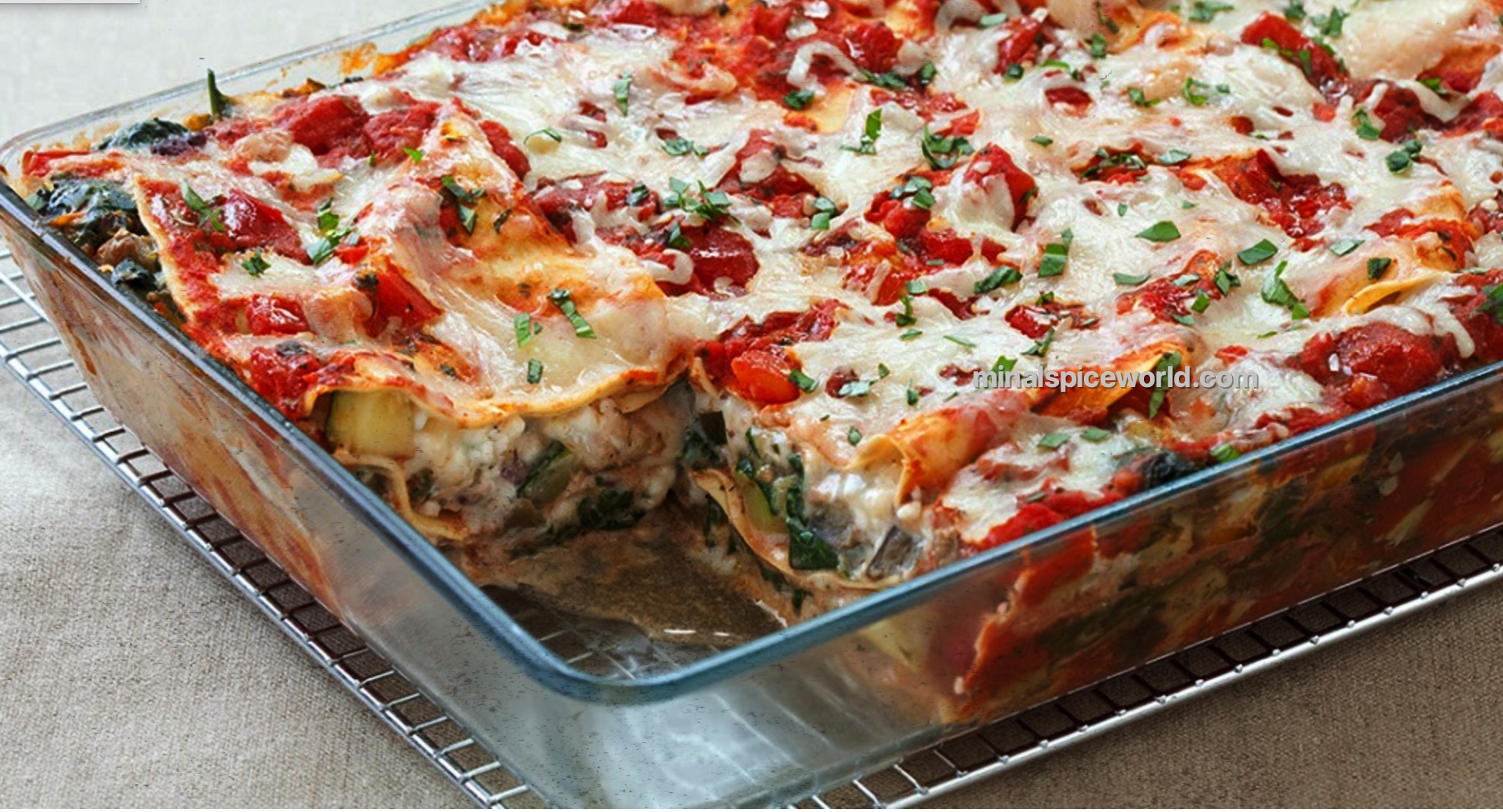with layers of vegetables