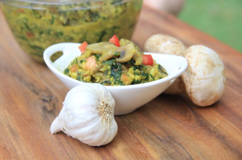 Mushroom and spinach malai curry