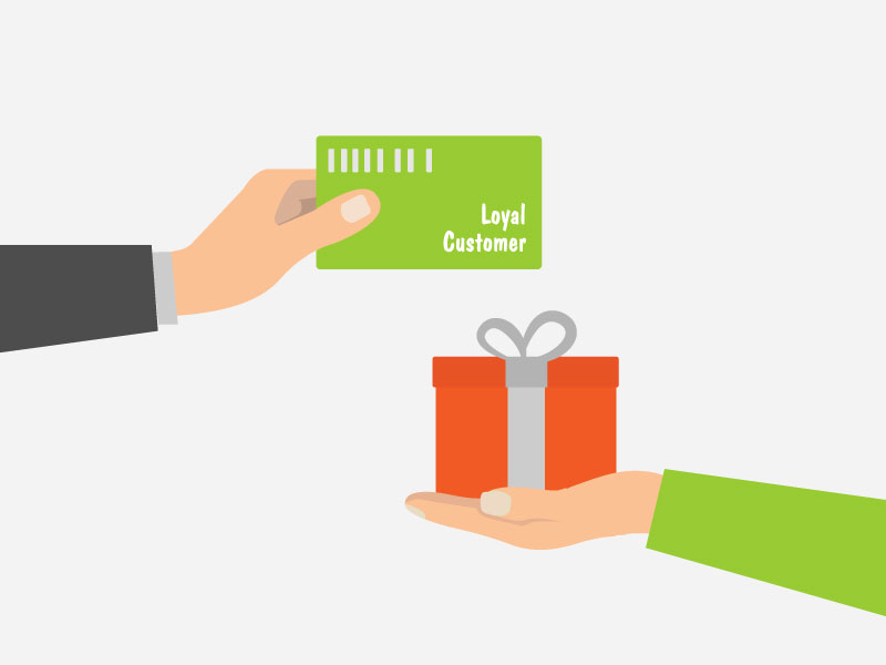 Frequent Buyer Program - Illustrated hands Exchanging Frequent Buyer Card for Gift - Hero