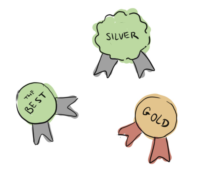 Varying types of illustrated badges