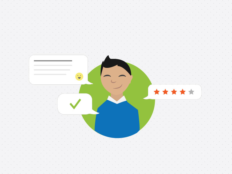 Illustration of Man with Review and Chat Bubbles - Managing Your Reputation with Loyalty Preview