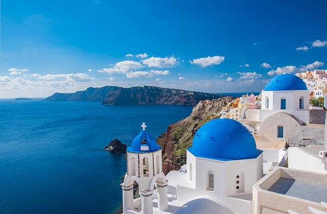 A view of Santorini, Greece in the Mediterranean.