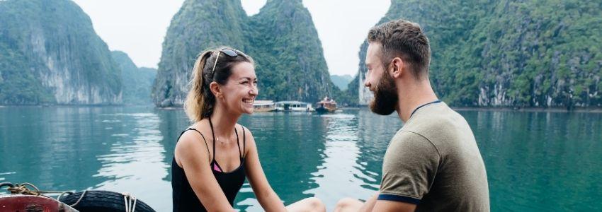 Couple travel on cruise ship