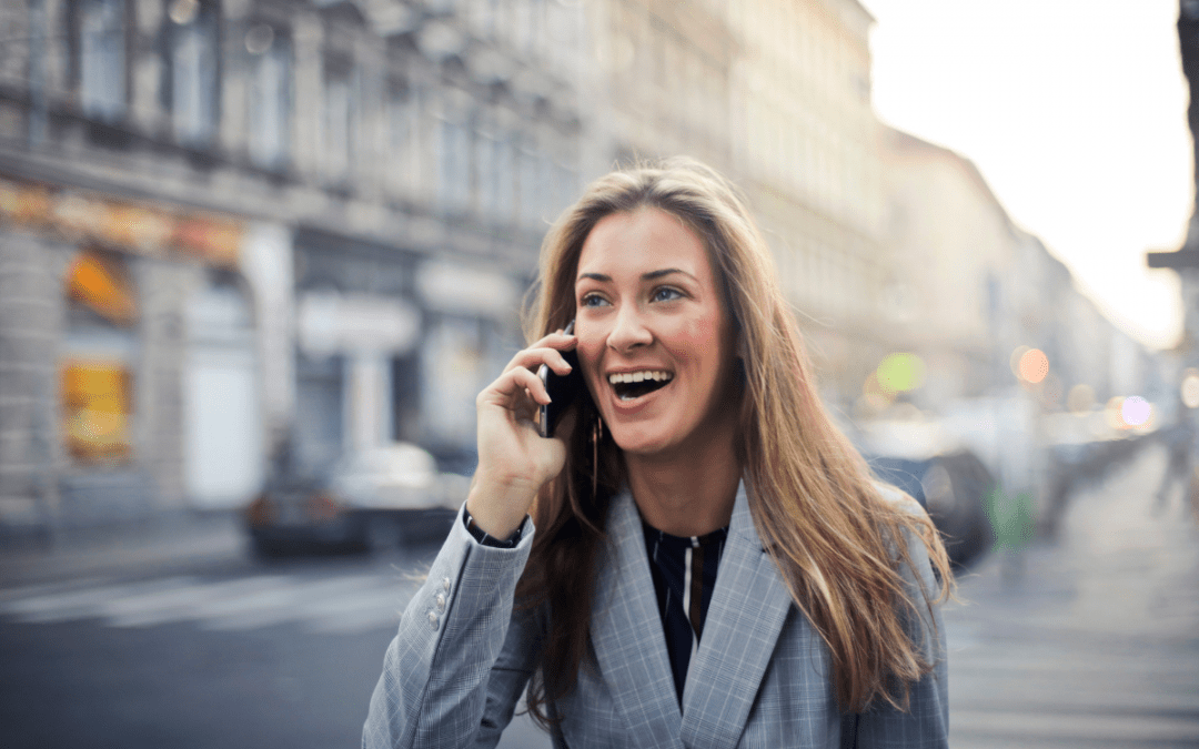 woman calling on a mobile phone in the streets