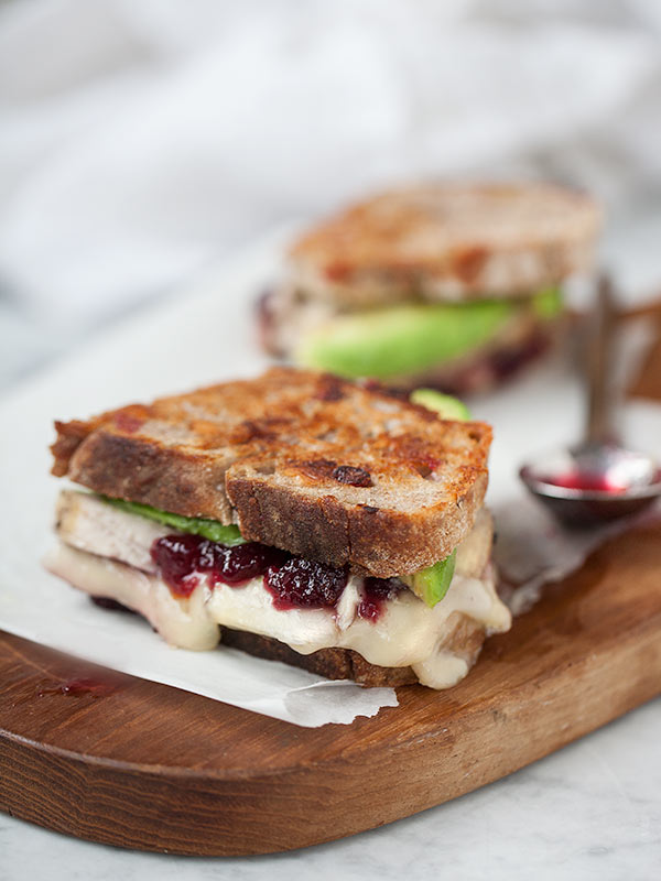 Recipes for Thanksgiving leftovers - Turkey Cranberry and grilled brie cheese sandwich