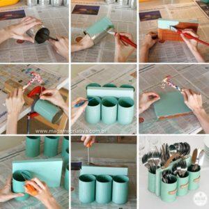 Tin Can Cutlery Organiser