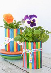 Craft Stick Flower Pots Tin Can