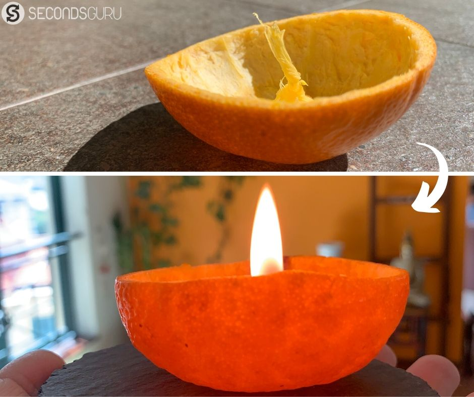 how to make candle from an orange peel