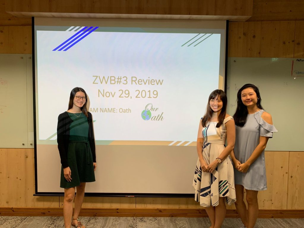 Esther Heng, Sindy Ong and Yin Ling Tan from Team Oath presenting at ZWB#3 review session