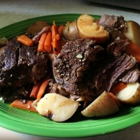 Slow Cooker Braised Pot Roast with Brown Gravy and Vegetables