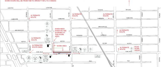 Temporary Traffic Control On E. Nine Mile Starting September 9