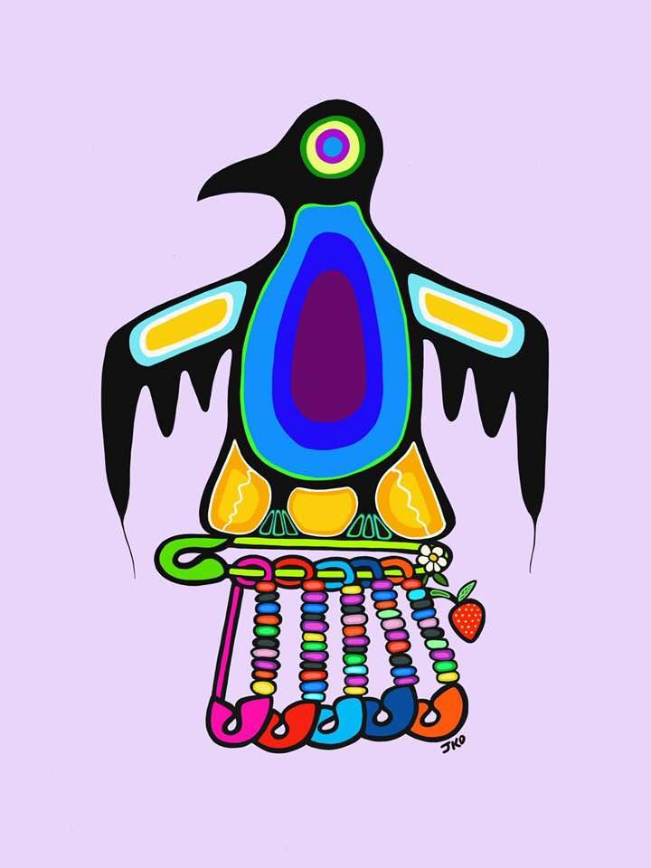 woodland art style bird carrying friendship pins