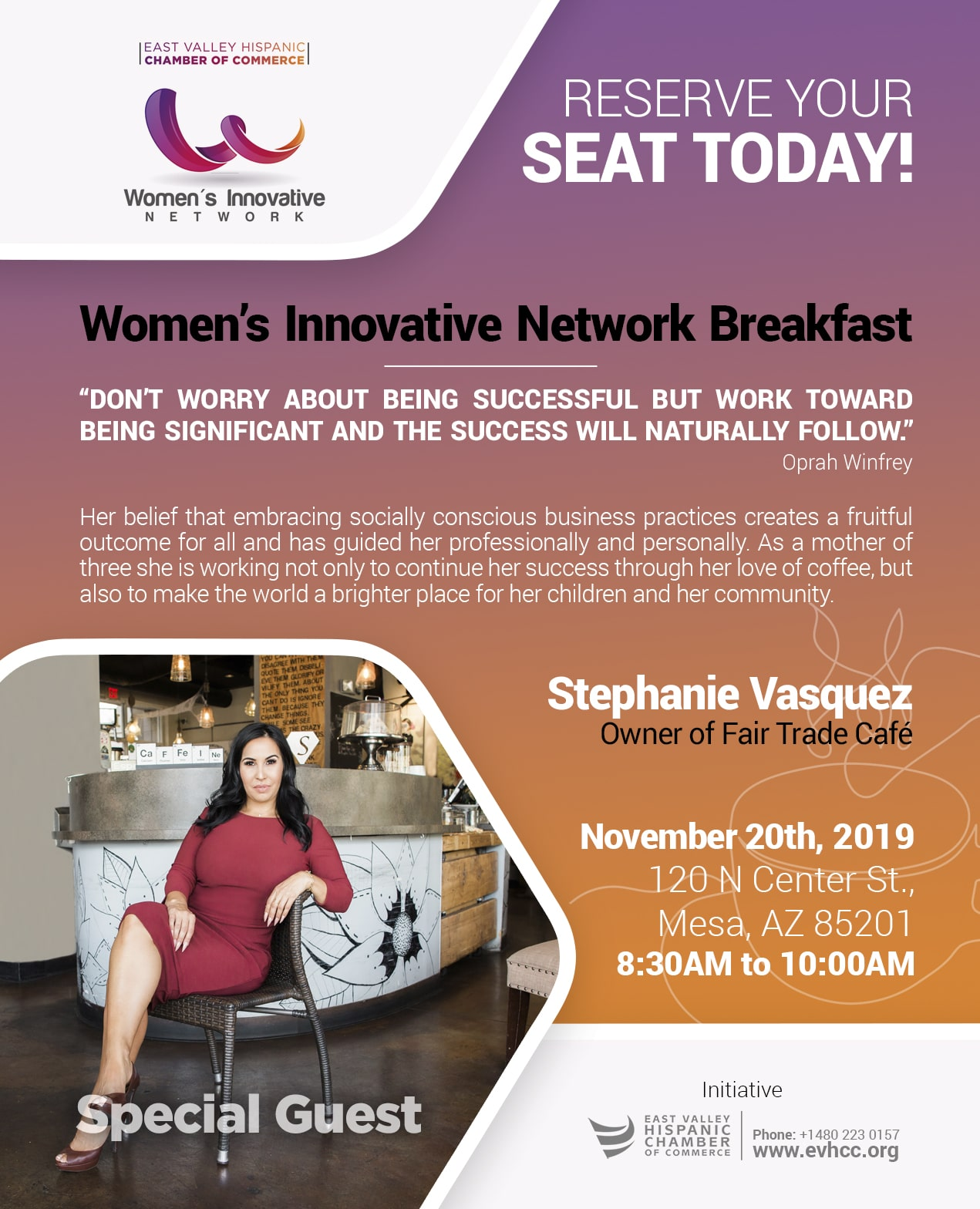 Women's Innovative Breakfast Networking November 20, 2019 by the East Valley Hispanic Chamber of Commerce