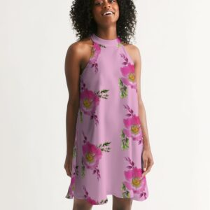 Pink Prairie Rose Bouquet Halter Dress