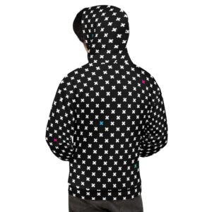 Colorful X Pattern Hoodie in Black