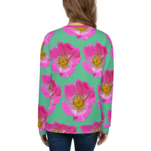 Mint Prairie Rose All-Over Print Sweatshirt