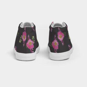 Black Prairie Rose Print Kids Hightop Canvas Shoe