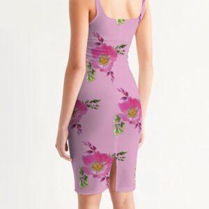 Pink Prairie Rose Print Midi Bodycon Dress