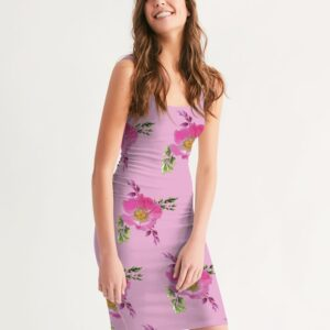Pink Prairie Rose Print Midi Bodycon Dress