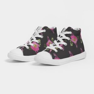 Black Prairie Rose Print Kids Hightop Canvas Shoe