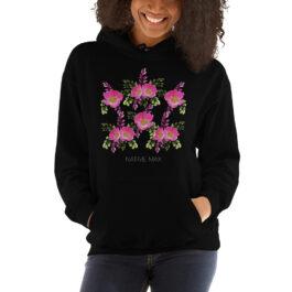 Prairie Rose Bouquet Unisex Hoodie in Black