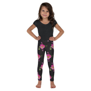 Black Prairie Rose Print Kid's Leggings