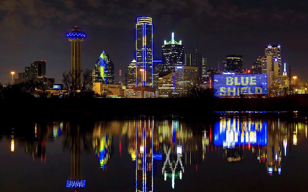 Operation Blue Shield Lights Up Dallas Skyline