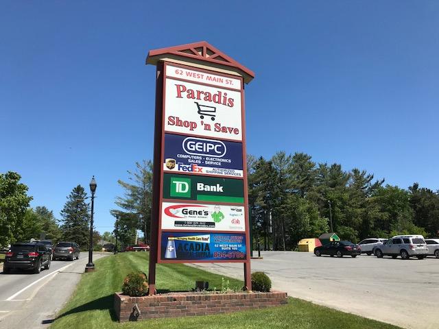 Fort Kent Paradis Shop 'n Save, Gene's Electronics, GEIPC & TD Bank Roadside Sign 62 West Main Street Plaza