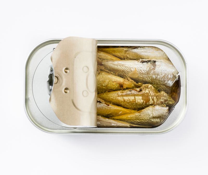Half open can of sardines
