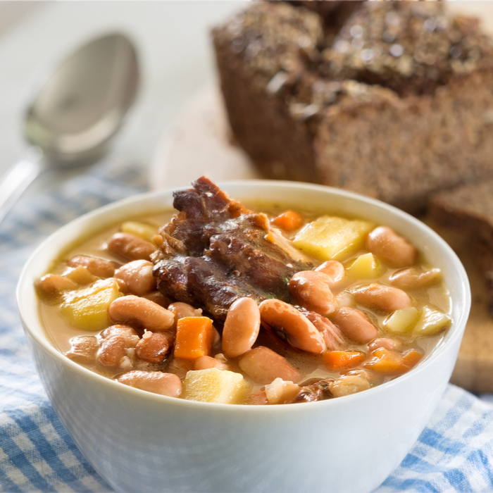 A bowl of bean, barley, and meat soup