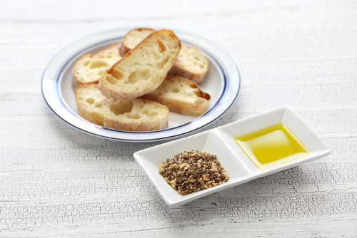 Bread with Dukkah nut mixture and olive oil