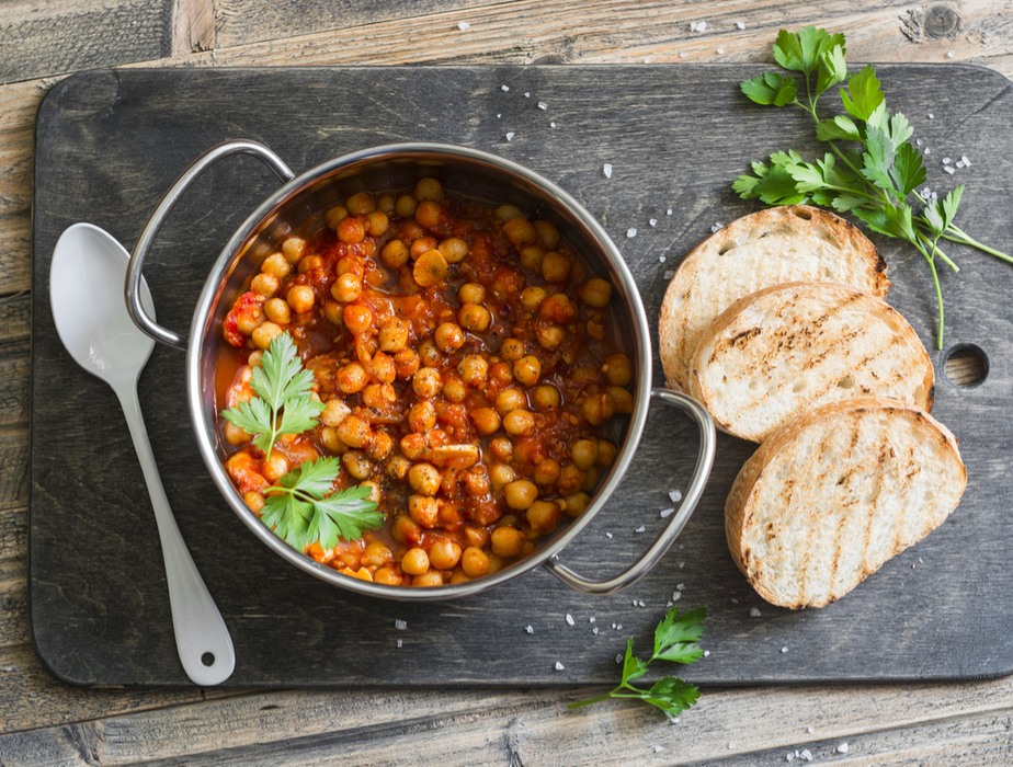 Pot of chickpeas in a zesty tomato sauce